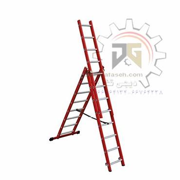 نردبان 7.5 متری 3 تیکه پله مربع پرشین